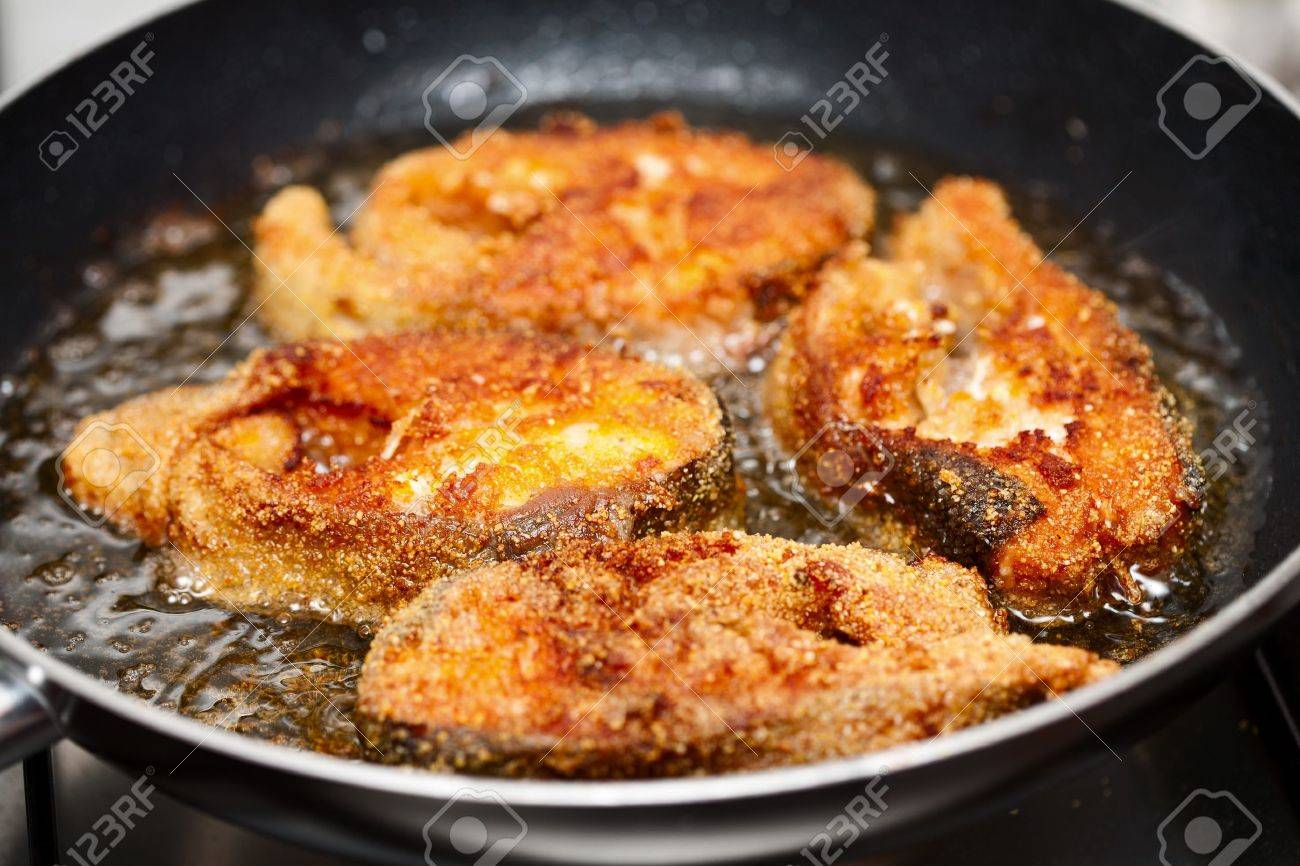 Delicious Salmon Fillets Roasted In The Frying Pan Stock Photo  7918251