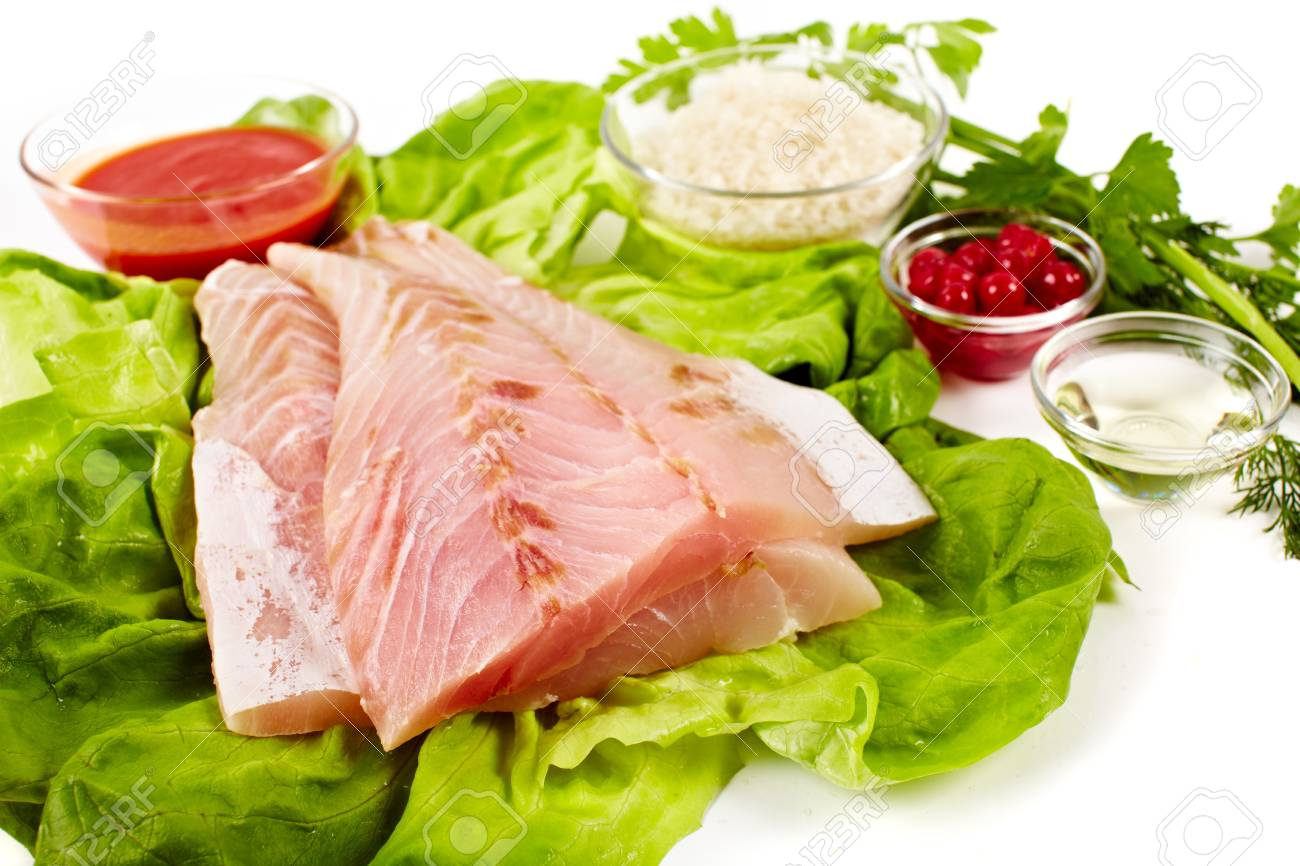 Closeup of raw zander fillets on fresh lettuce Stock Photo - 9052180