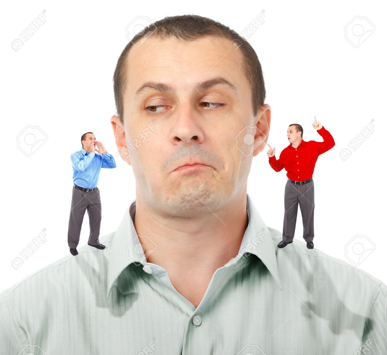 Businessman undecided which of his elf businessmen advice to follow Stock Photo - 10497020