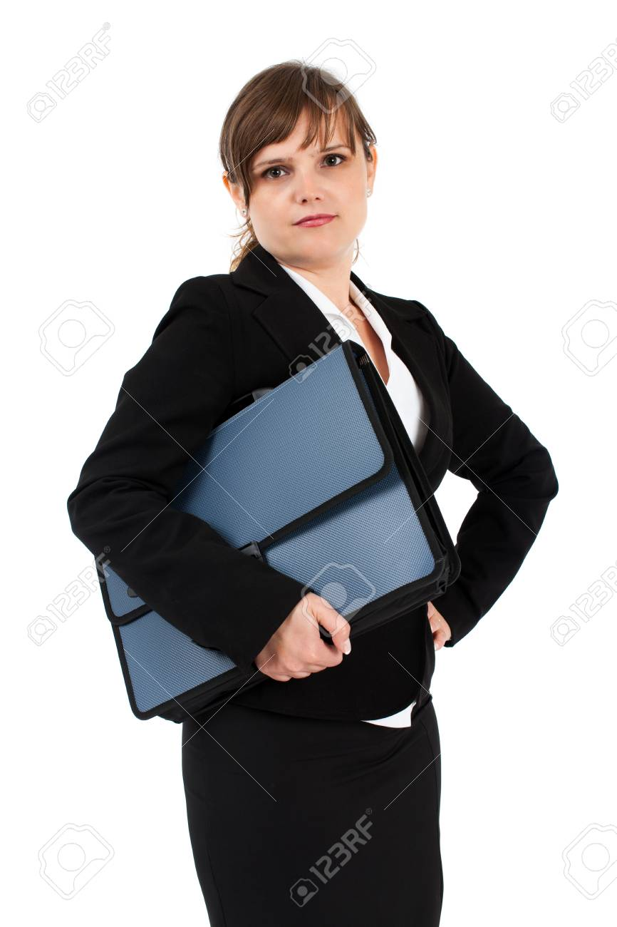 Serious businesswoman holding briefcase, isolated on white background Stock Photo - 15609942