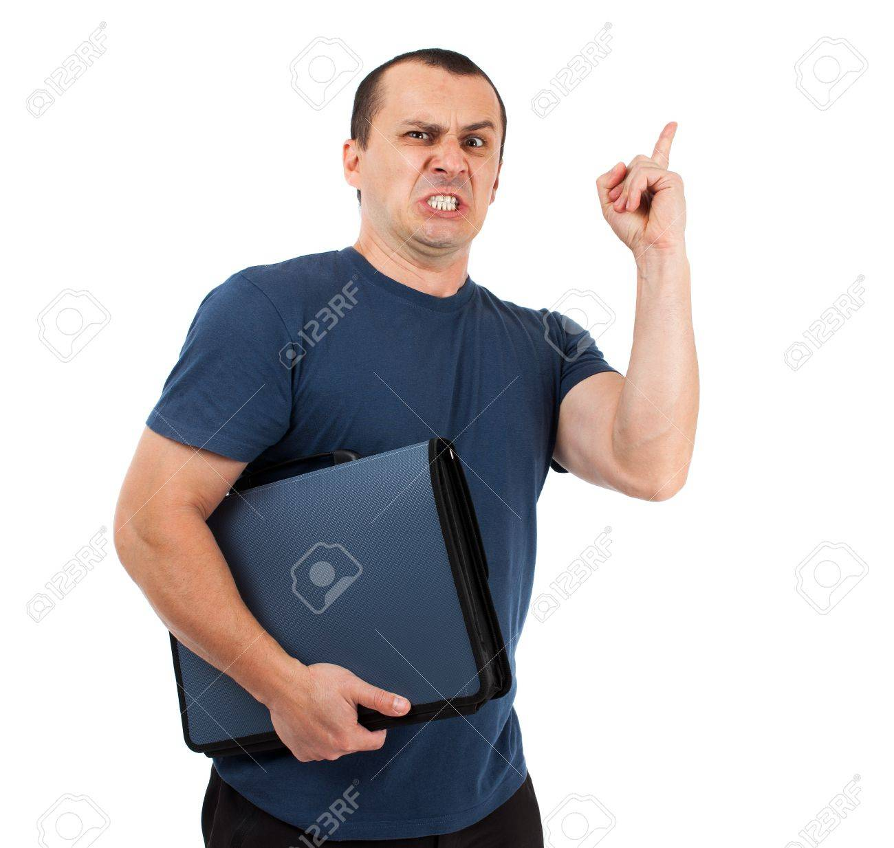 Angry man with briefcase isolated on white background Stock Photo - 15609926