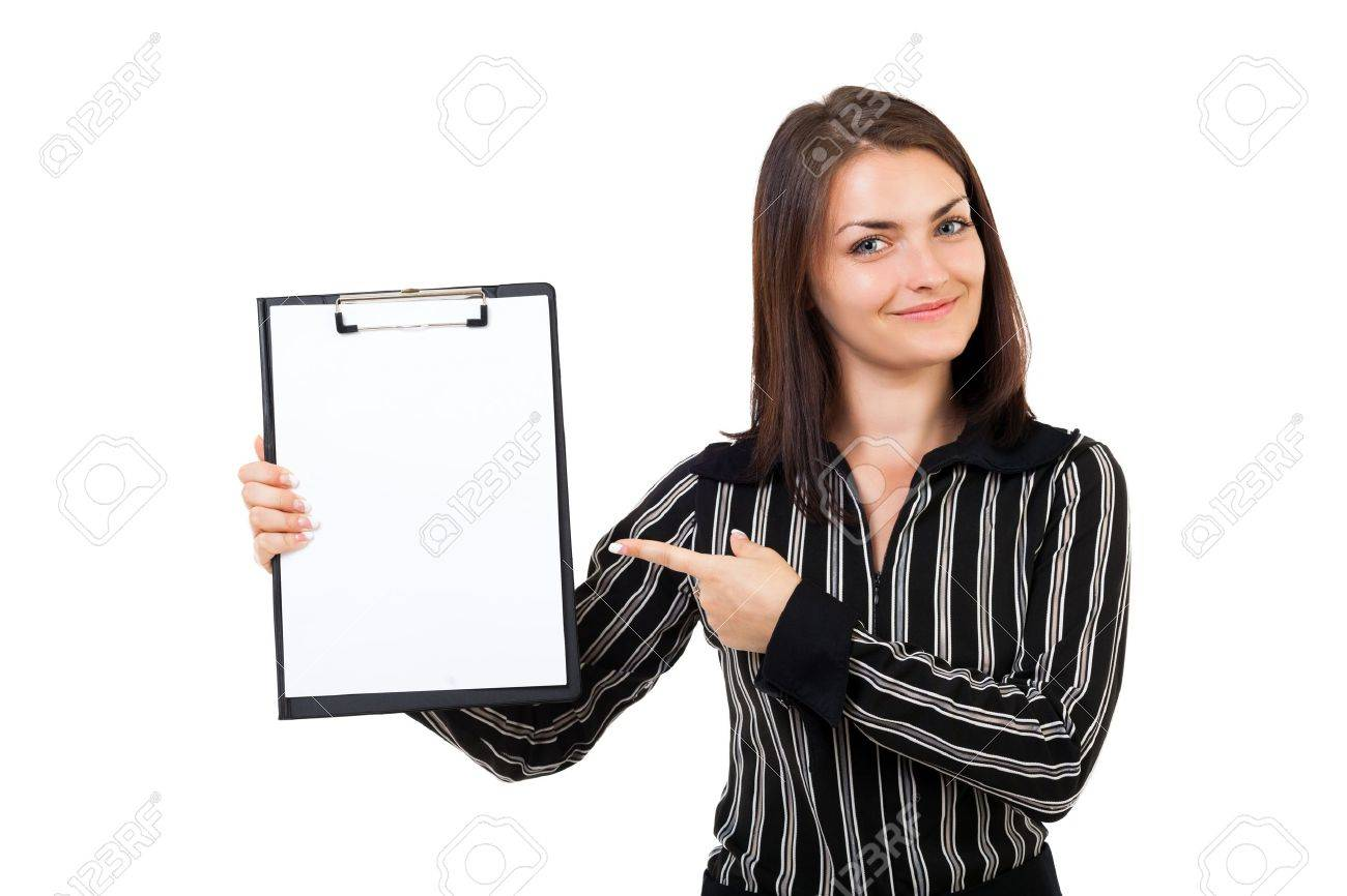 Portrait of a happy young businesswoman pointing at a clipboard, isolated on white background Stock Photo - 15894393