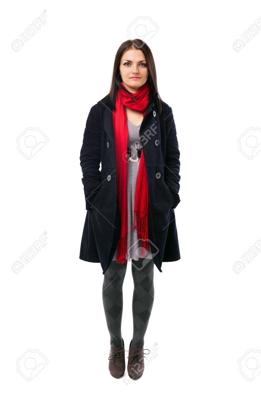 Full length portrait of a young woman wearing coat isolated on white background Stock Photo - 16519544