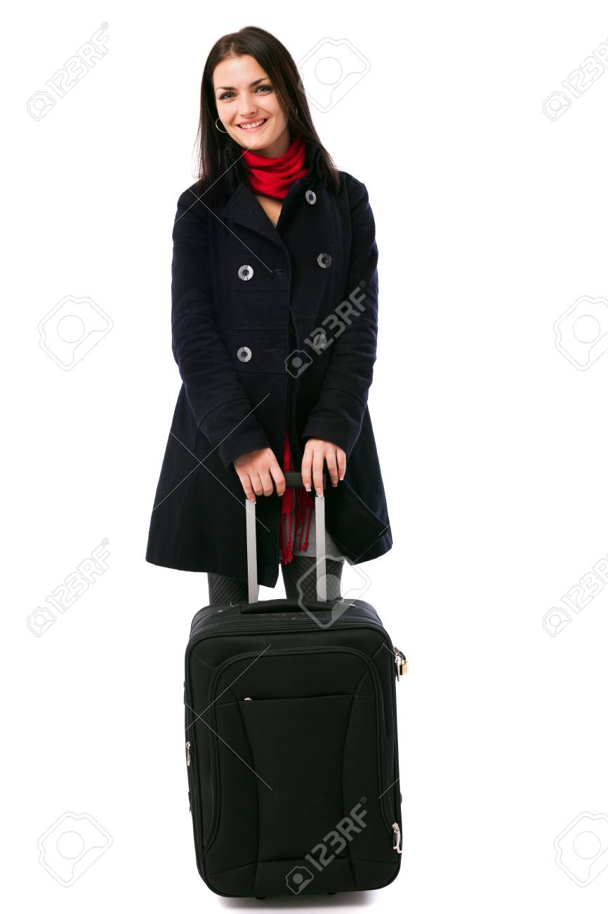 Full length portrait of a young woman holding a luggage isolated on white background Stock Photo - 16519543