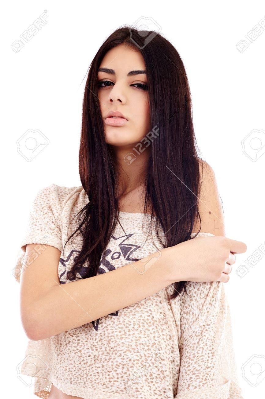 Gorgeous latin young woman closeup, isolated on white background Stock Photo - 16891141