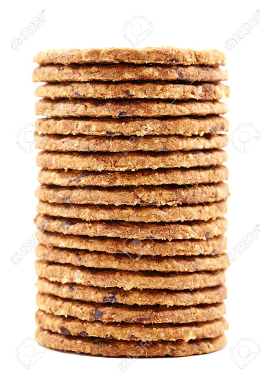 Digestive bio wholegrain biscuits with chocolate chips isolated on white background Stock Photo - 17324556