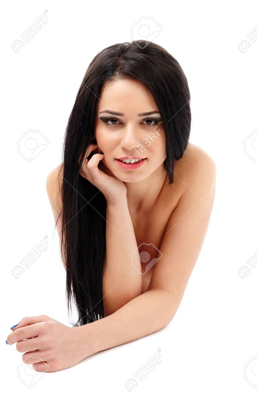 Carefree beautiful brunette caucasian young woman isolated on white background Stock Photo - 17605314