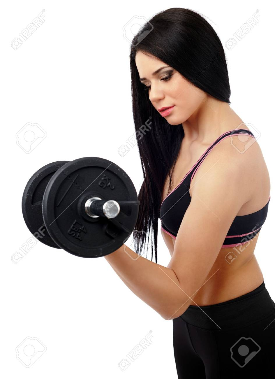 Young lady exercising with weights isolated on white background Stock Photo - 17605325