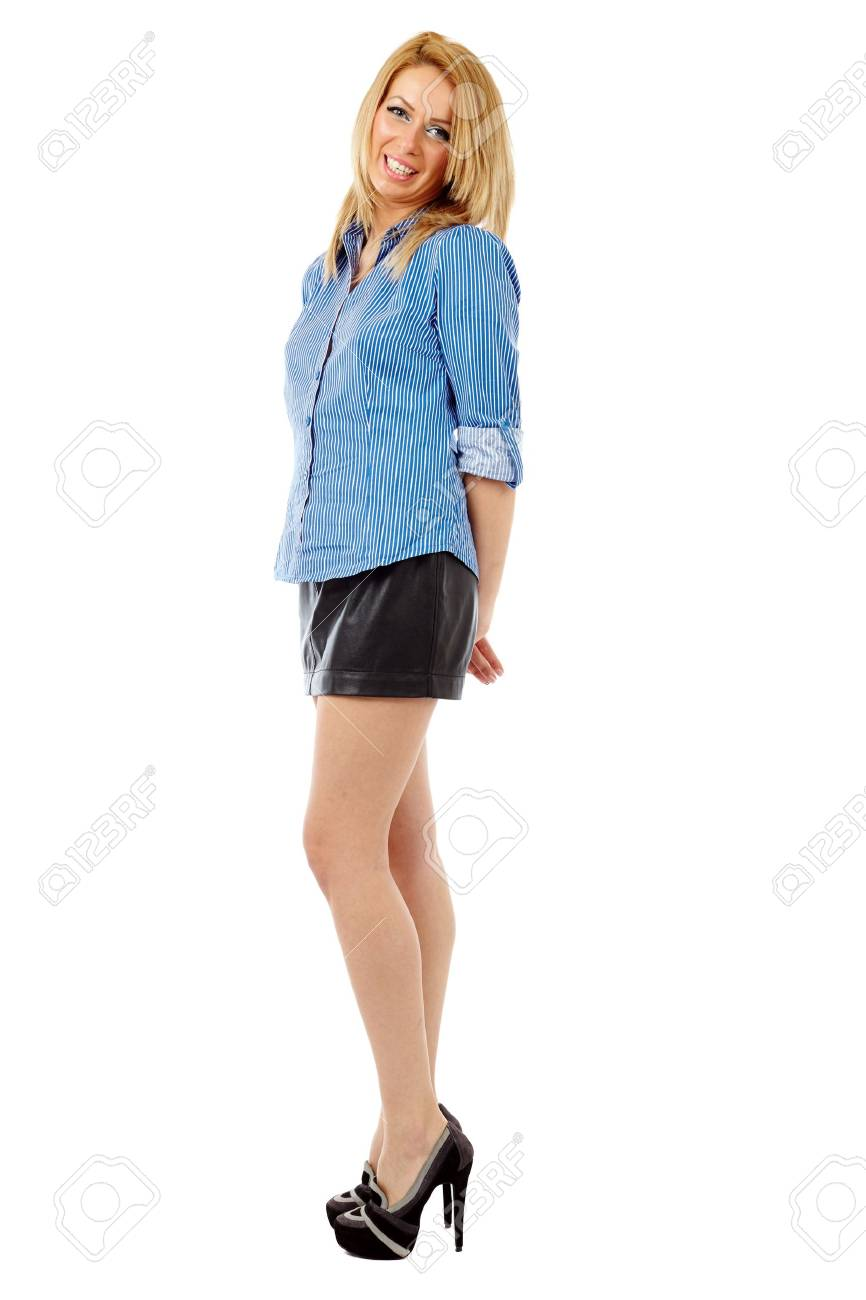 Full length portrait of a young blond businesswoman isolated on white background Stock Photo - 17605332