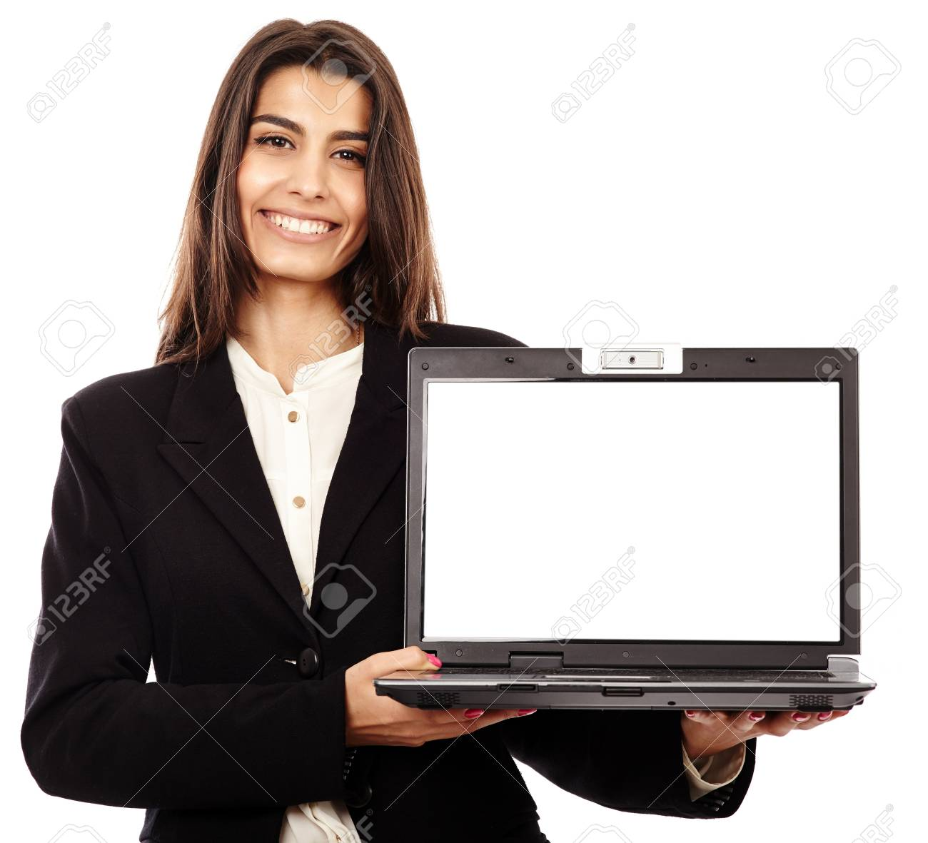 Indian businesswoman presenting a laptop with copyspace on the monitor Stock Photo - 20245171