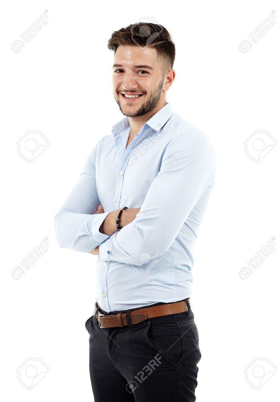 pleine longueur d'un jeune homme d'affaires caucasien, les bras croisés Banque d'images - 33335245