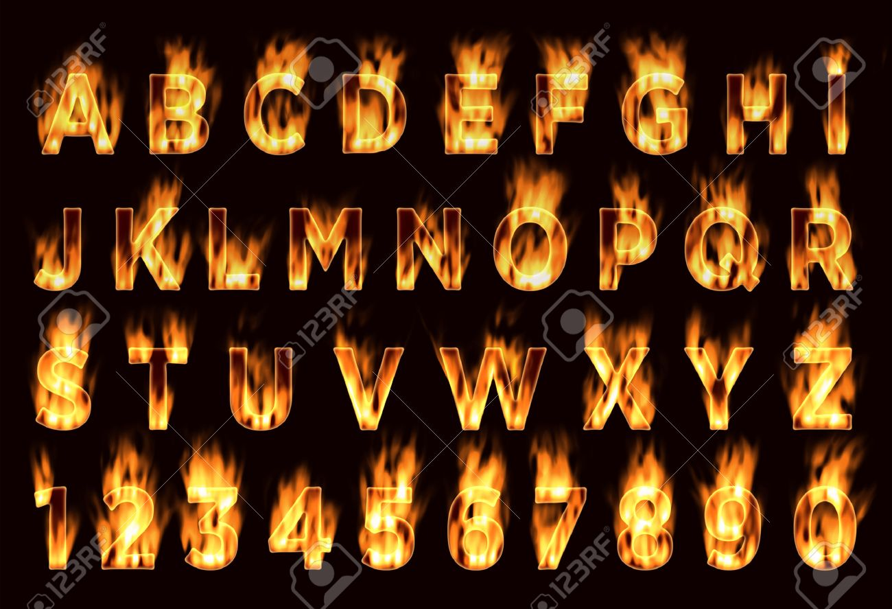 Fire font. Plum letters. Characters in the fire. Font on fire. - 45277042