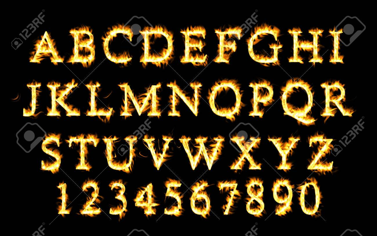 Fire font collection, Fire text collection  Alphabet of flame
