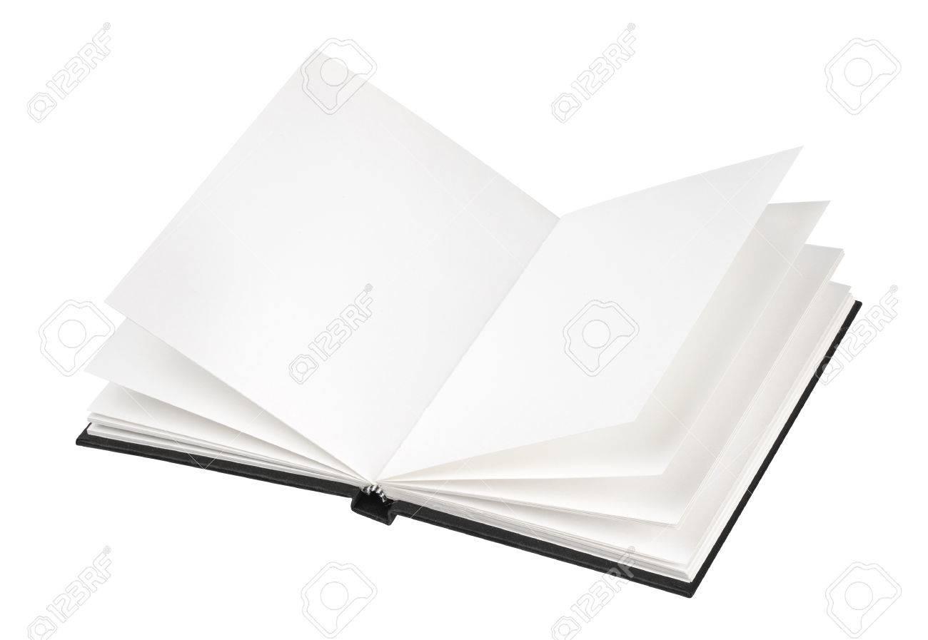 Ouvrir Couverture De Livre Noir Isole Sur Fond Blanc