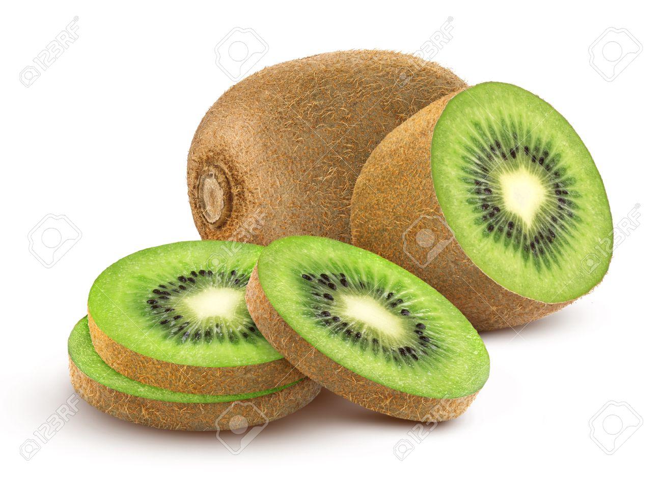 Foto de archivo - Fruta aislada del kiwi. Colección de kiwi entero y cortado  aislado en un fondo blanco con el camino de recortes. 7902b7e3d449