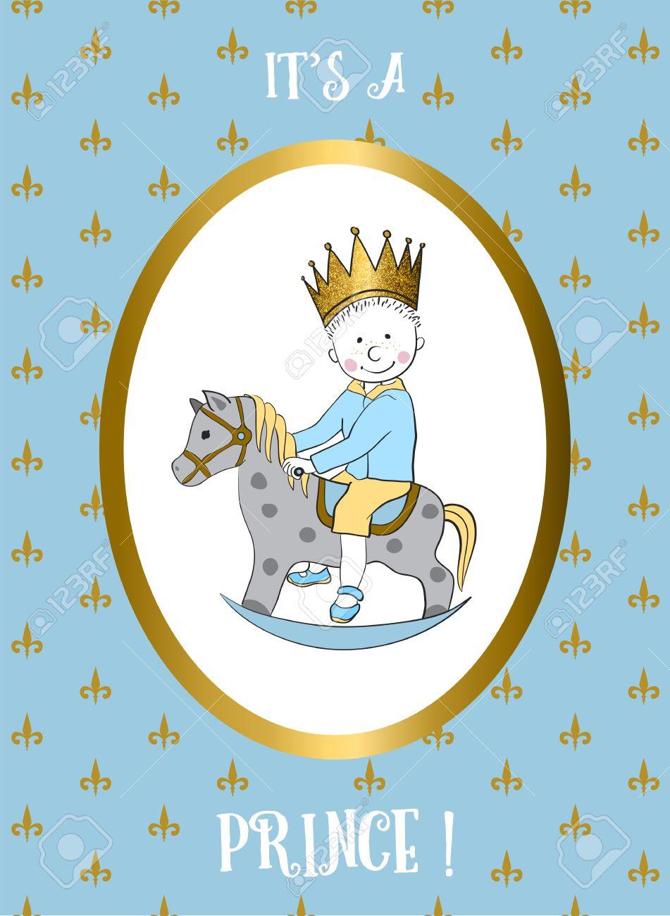Es Un Niño Con Tarjeta De Pequeño Montar A Caballo De Oscilación Príncipe Invitación De La Ducha Del Bebé Tarjeta De Felicitación Para El Primer Año