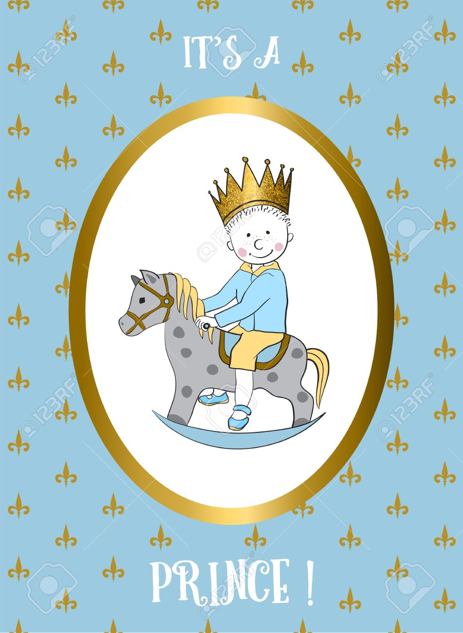 Its A Boy Card With Small Prince Riding Rocking Horse Baby Shower
