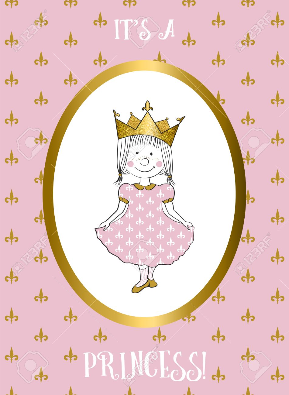 Its A Girl Card With Small Princess. Baby Shower Invitation ...