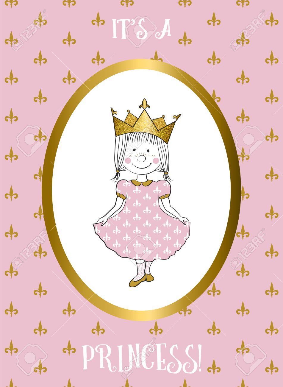 Son Une Carte Fille Avec Une Petite Princesse Invitation De Douche