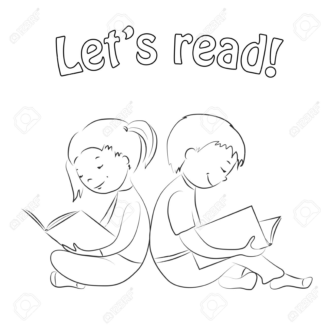 Children Sitting Back To Back Girl And Boy Reading Books Outline
