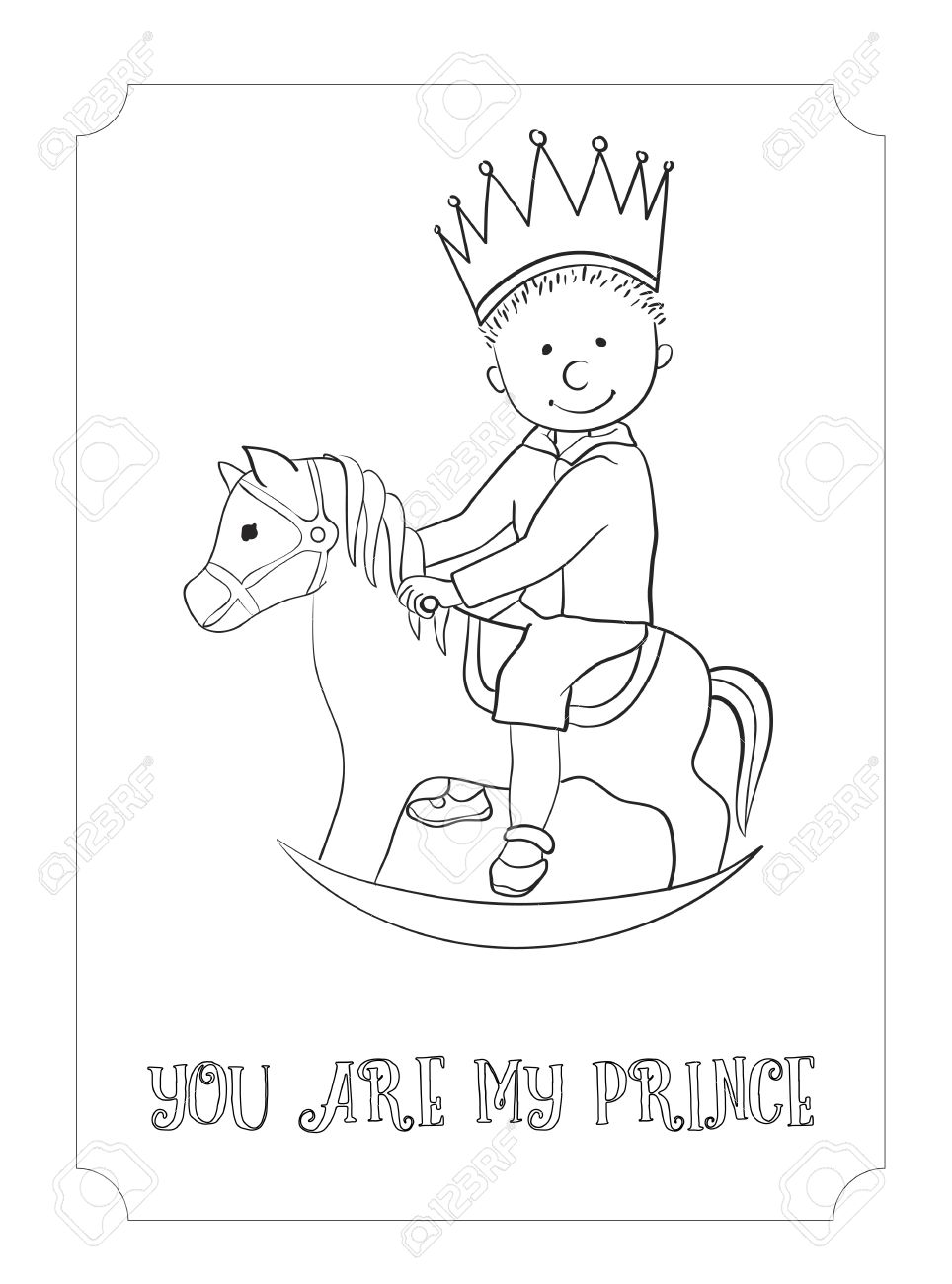 Kid Cartoon Cute Prince Outline Card. Vector Coloring Page For ...
