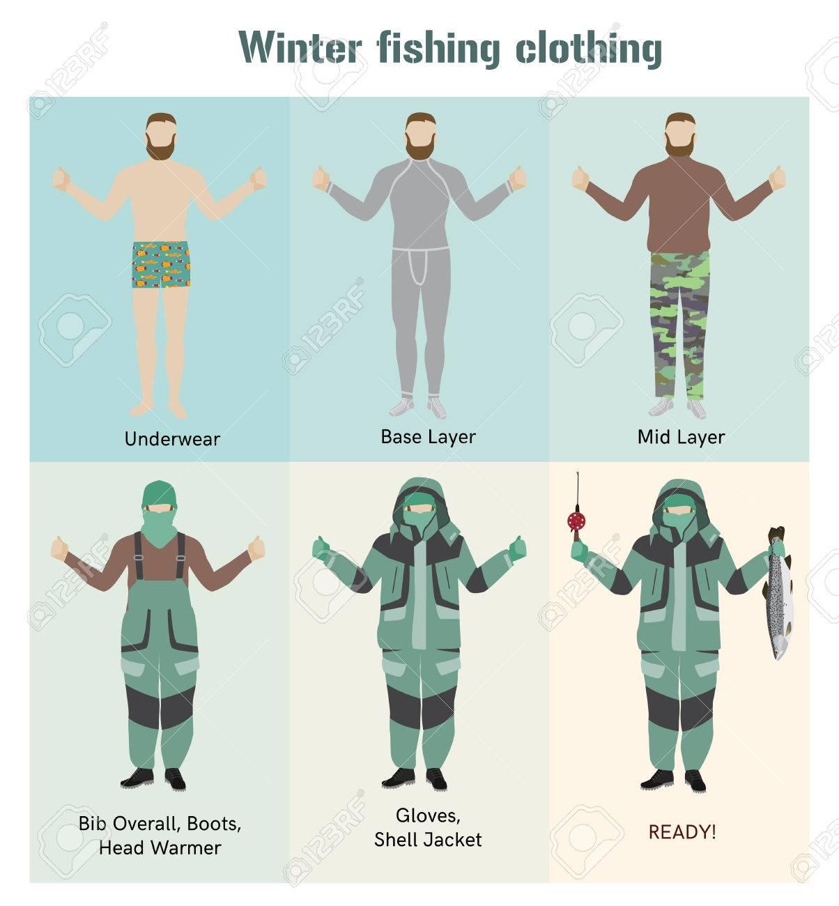 Vecteur Pêche Froid De Plat Illustration Vêtements Les Temps Par q1PB4