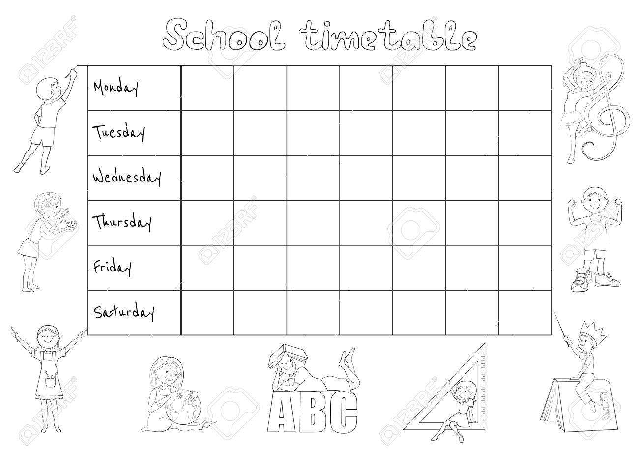 Horario De La Escuela Horario Para Los Estudiantes Para Colorear Ilustración De Dibujos Animados Vector De La Página