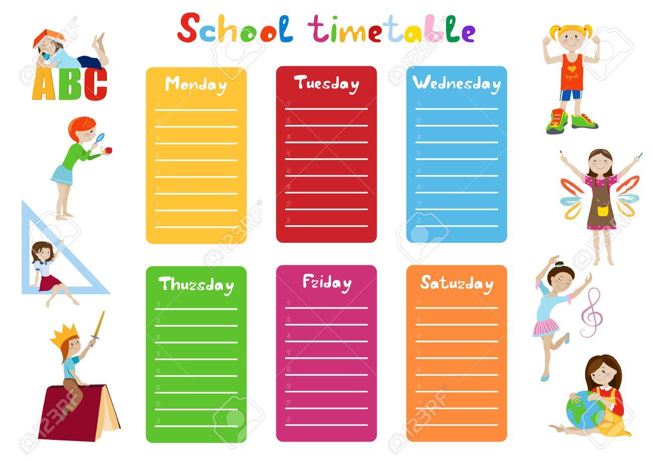 Schule Zeitplan, Wochenplan Für Studenten Cartoon Vektor