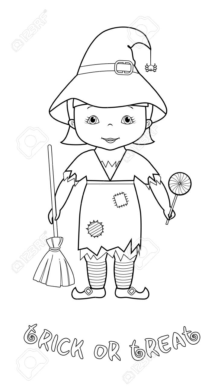 Trick Or Treat Halloween Vector Coloring Page With Cute Cartoon ...