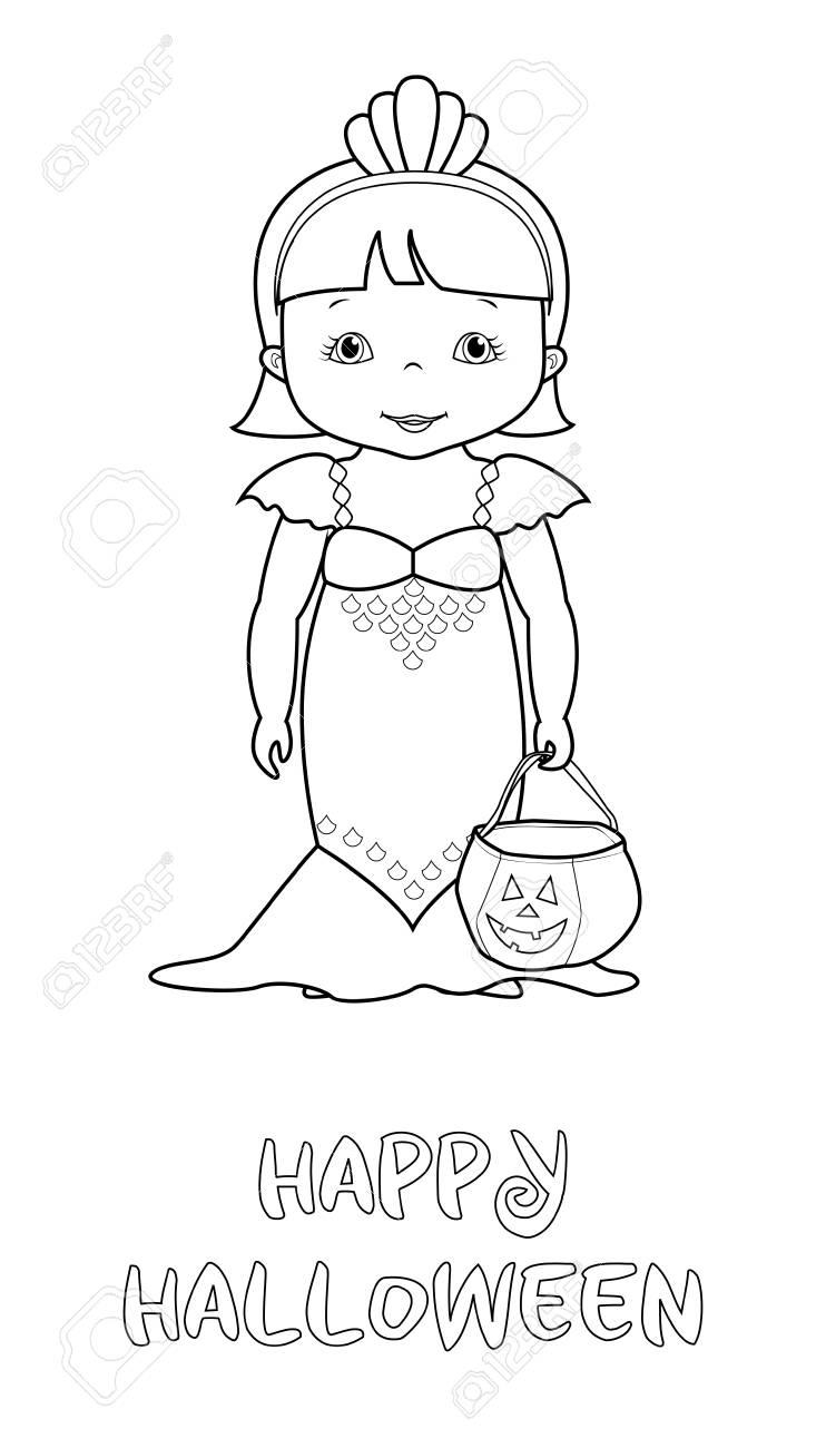 Glückliche Halloween-Vektor-Malvorlagen Mit Niedlichen Cartoon ...