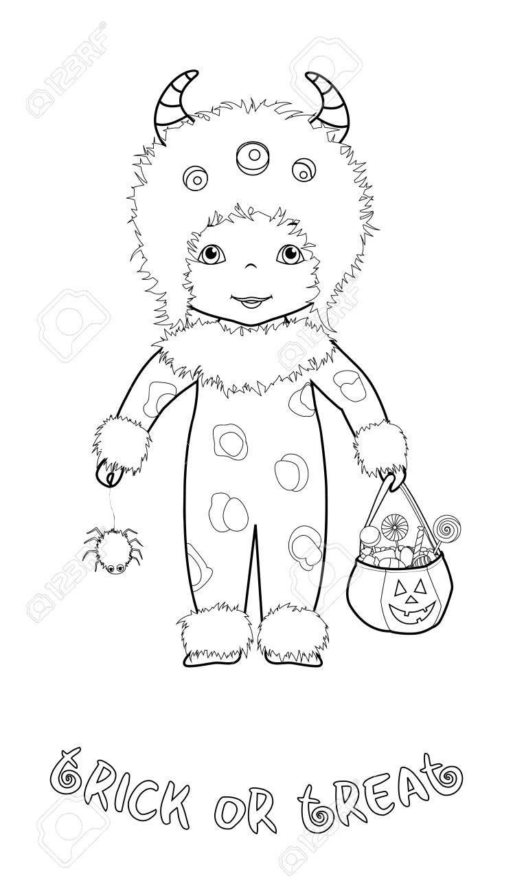 Trick Or Treat Halloween Dibujos Animados Para Colorear Página Con ...