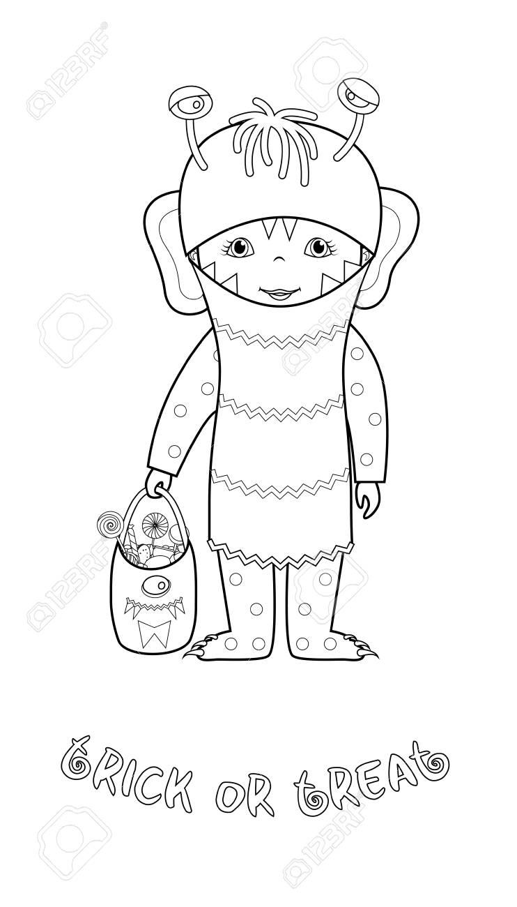 Trick Or Treat Vector De Dibujos Animados De Halloween Para Colorear ...