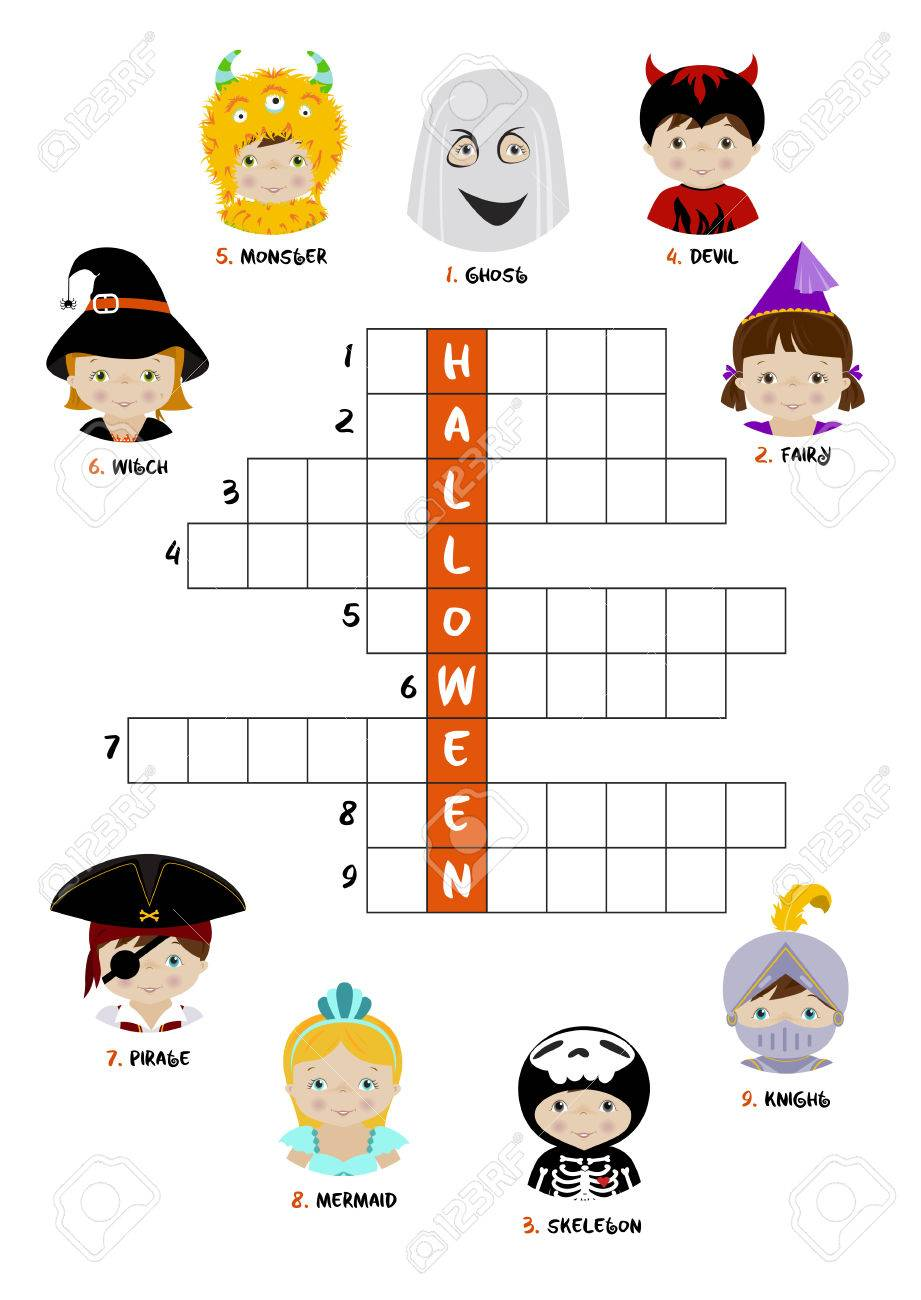 Halloween Theme Crossword Puzzle For Children With Kids Dressed
