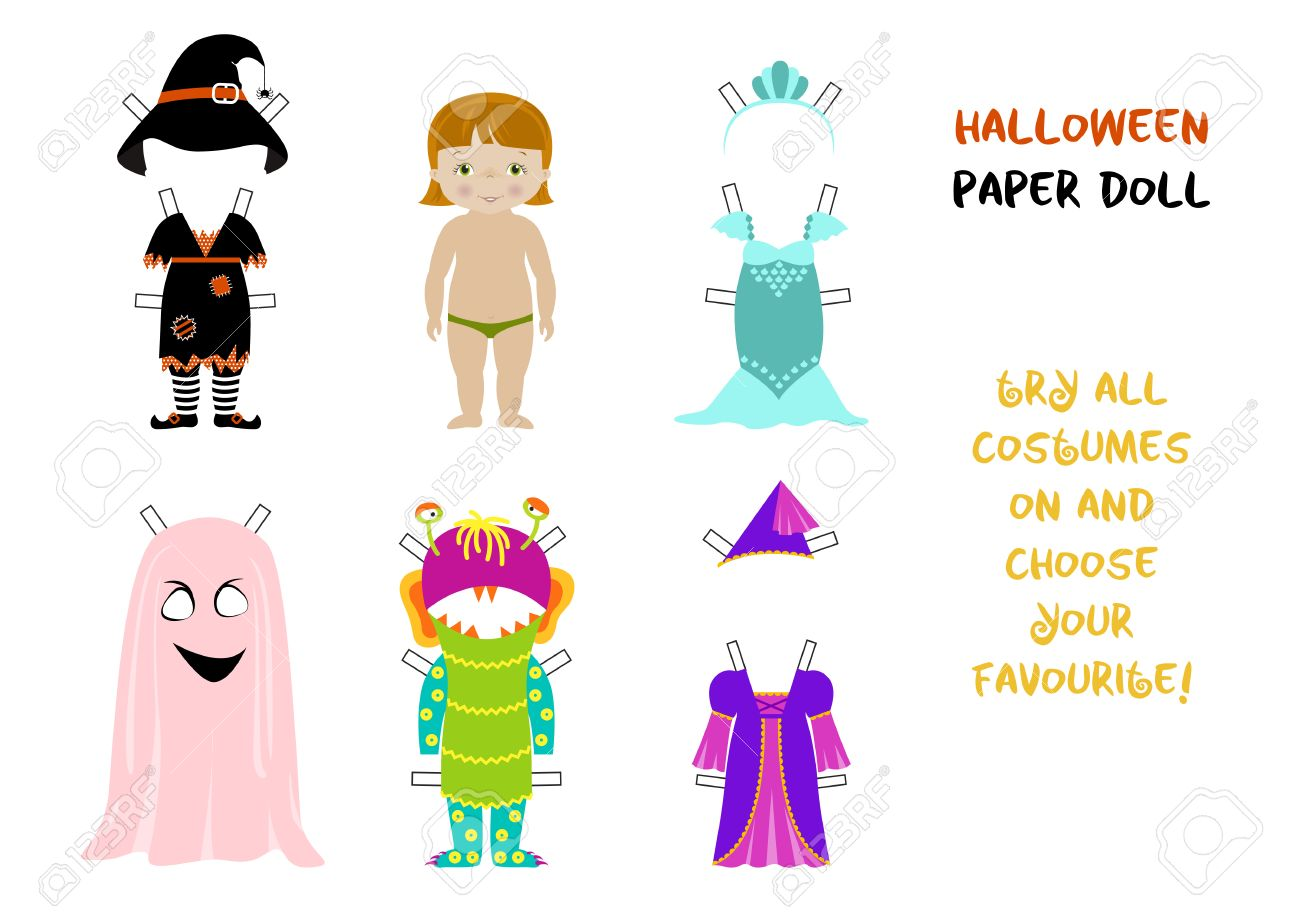 halloween paper doll cartoon vector little girl body template and set of fancy costumes for