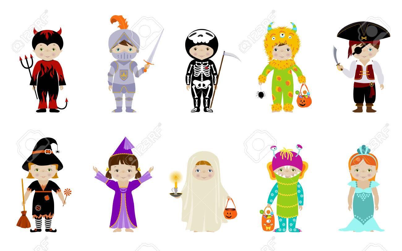 Gran Coleccion De Pequenos Ninos Lindos En Trajes De Halloween De La - Trajes-de-jalowin