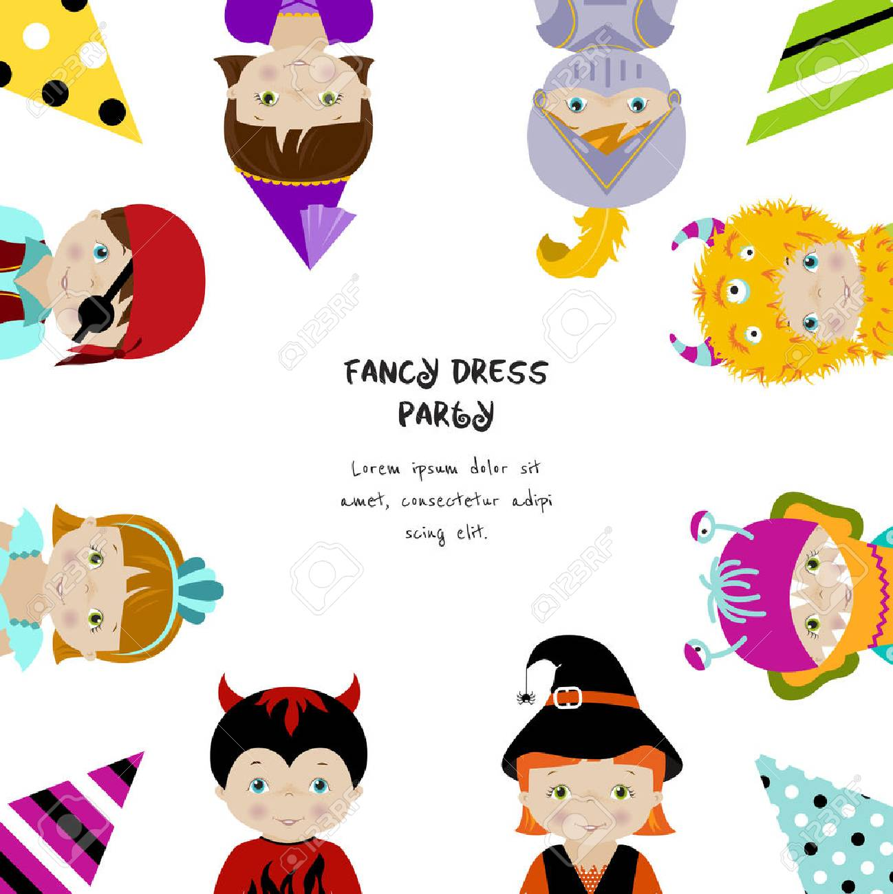 Square Background For Fancy Dress Party Invitation With Cute ...