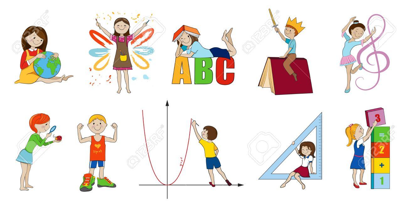 Sujets Scolaires Cartoon Vector Illustration Mathématiques Et Musique Anglaise Et Art Science Et L'éducation Physique