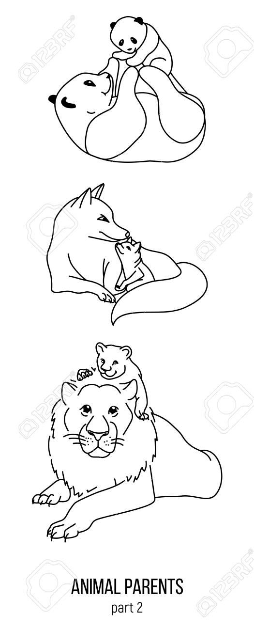 Conjunto De Animales De Padres Y Niños, Página Para Colorear De ...