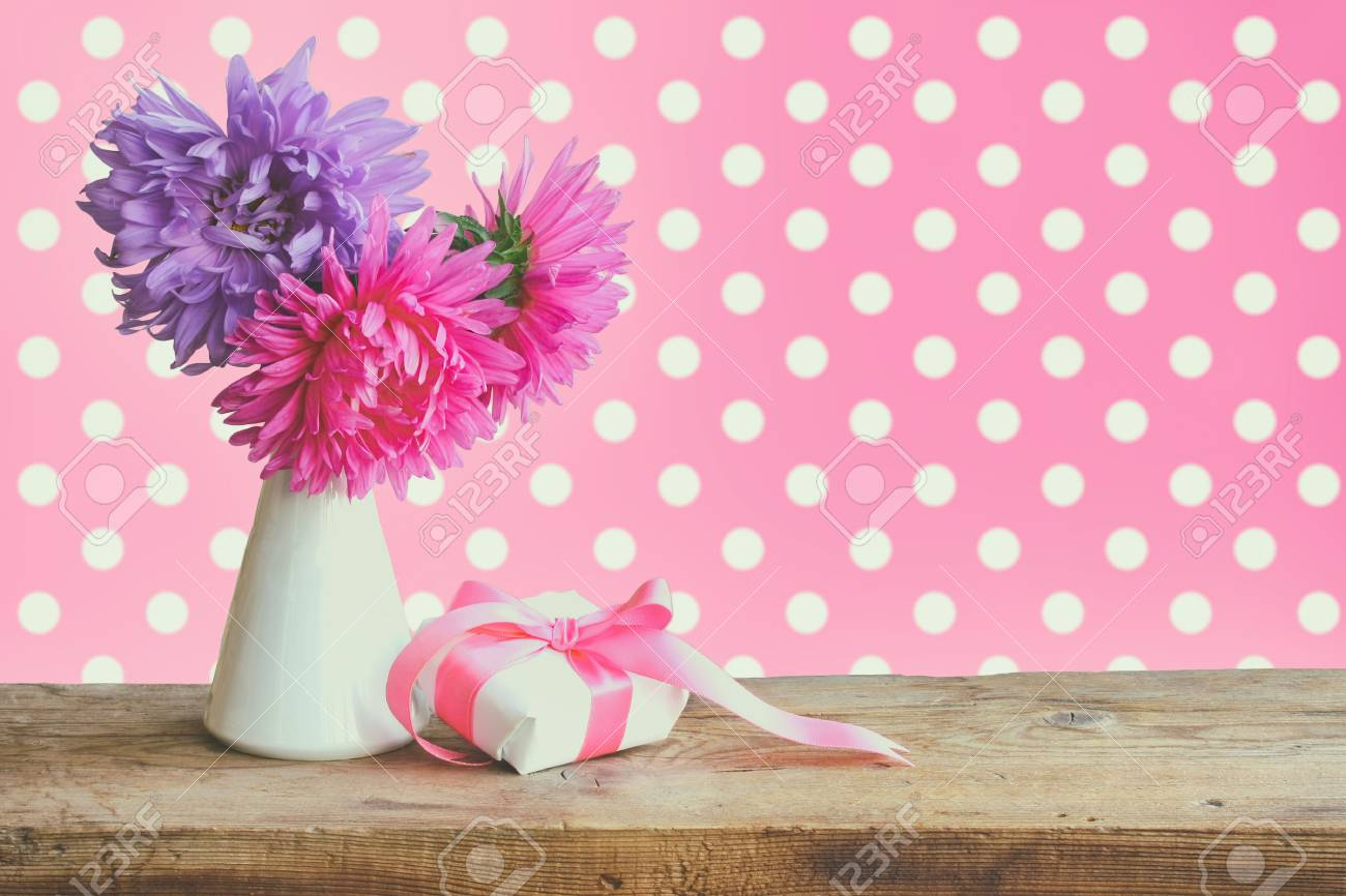 Bouquet Aster Flowers Gift Box With Silk Ribbon On Wooden Table