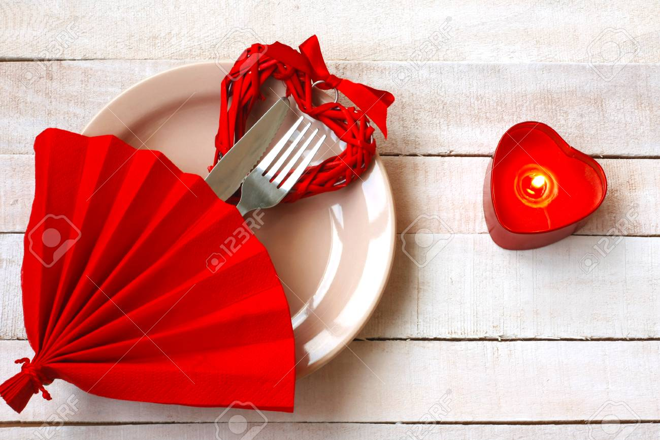 Composition Of Valentines Day Romantic Dinner Cutlery On Plate