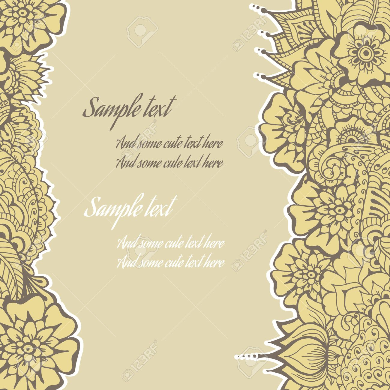 Ornate vintage vector background in mehndi style royalty free stock - Ornate Vector Card Template In Indian Mehndi Style Hand Drawn Abstract Background Invitation