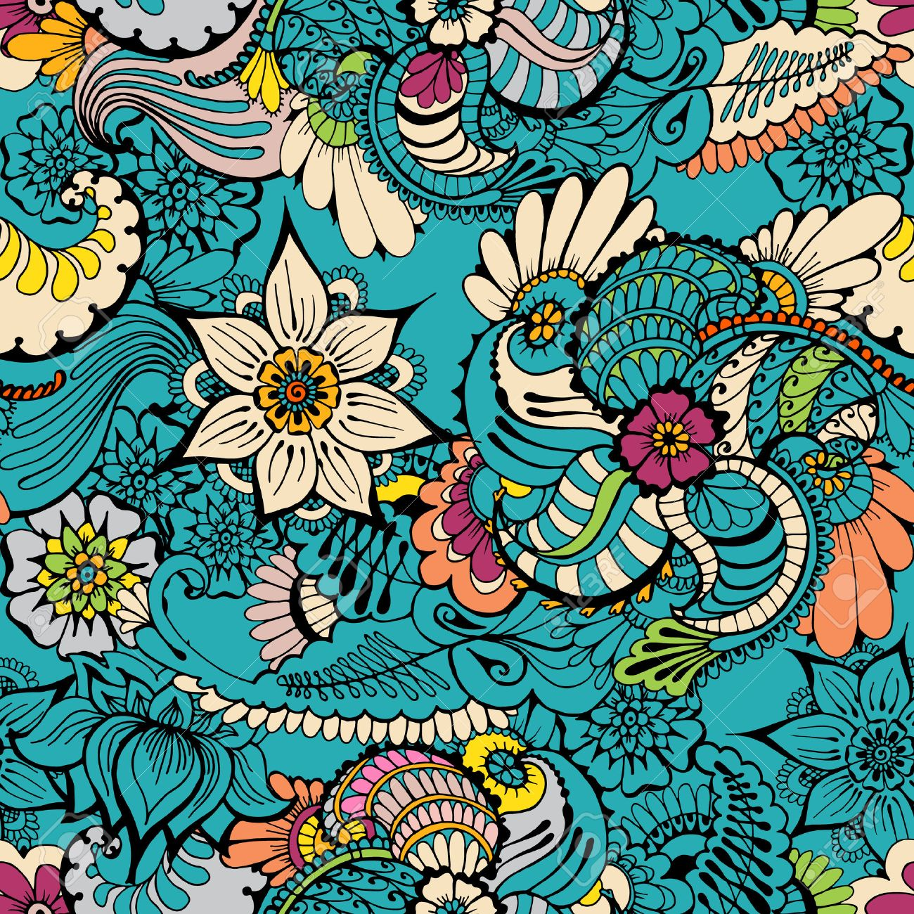 Floral Colorful Background With Indian Ornament Seamless Pattern