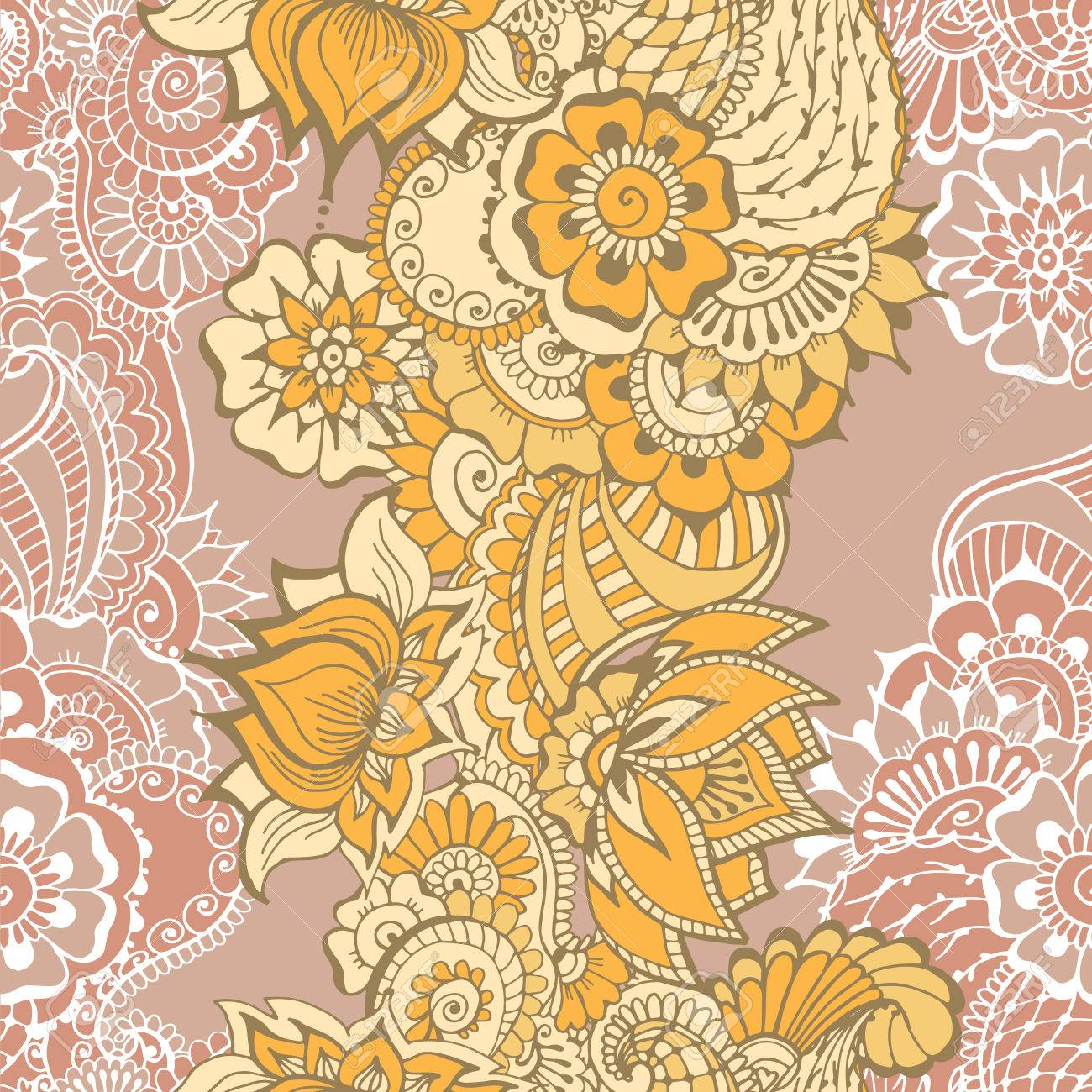 Seamless Pattern With Traditional Indian Ornaments For Your Design