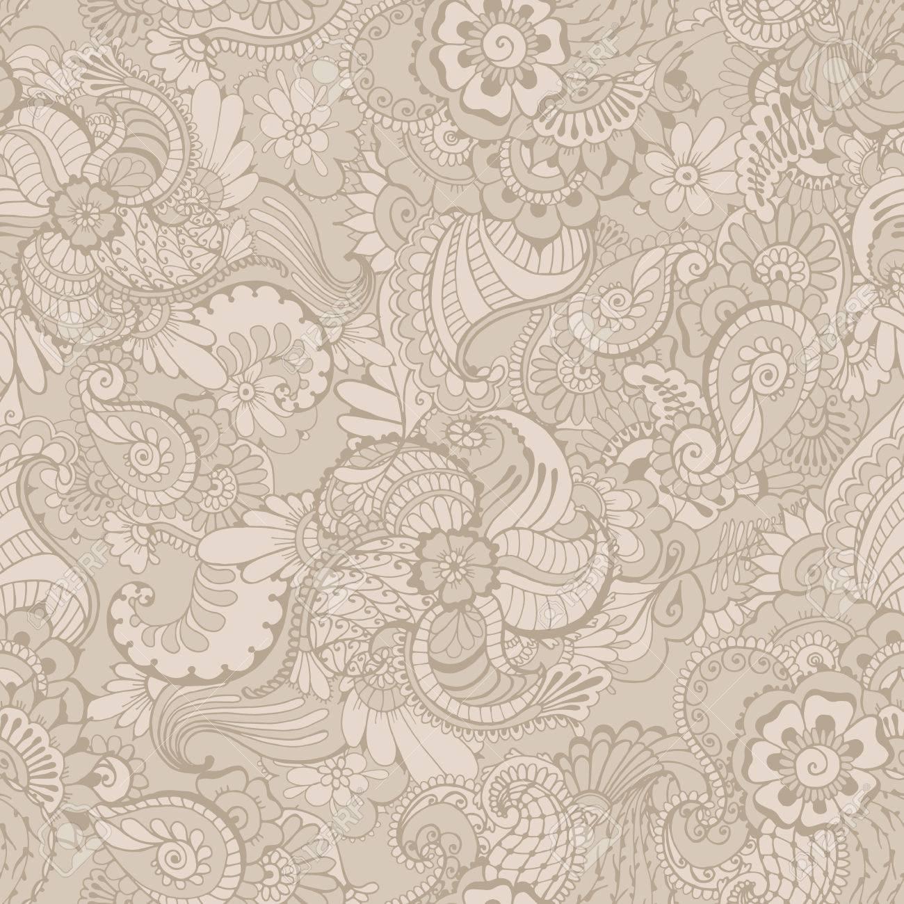 Wunderbar Blumenhintergrund Mit Indische Verzierung In Grauen Farben. Nahtlose Muster  Für Ihr Design Tapeten, Muster