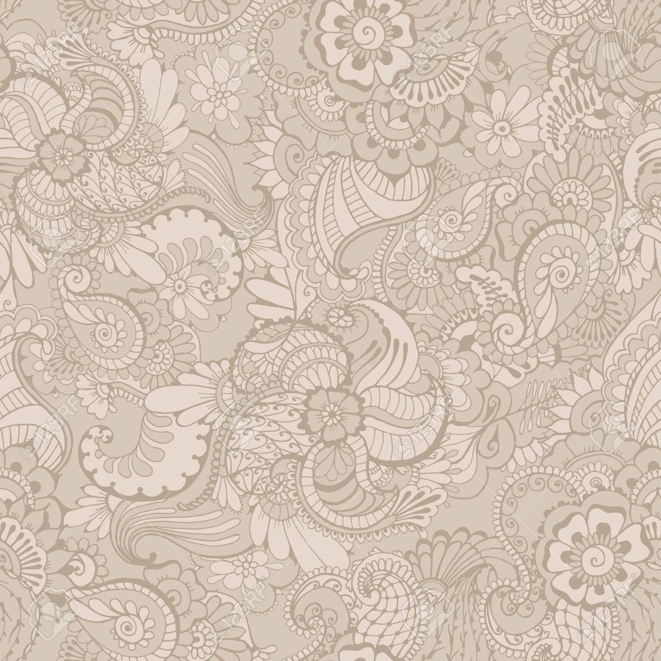Floral Background With Indian Ornament In Grey Colors Seamless