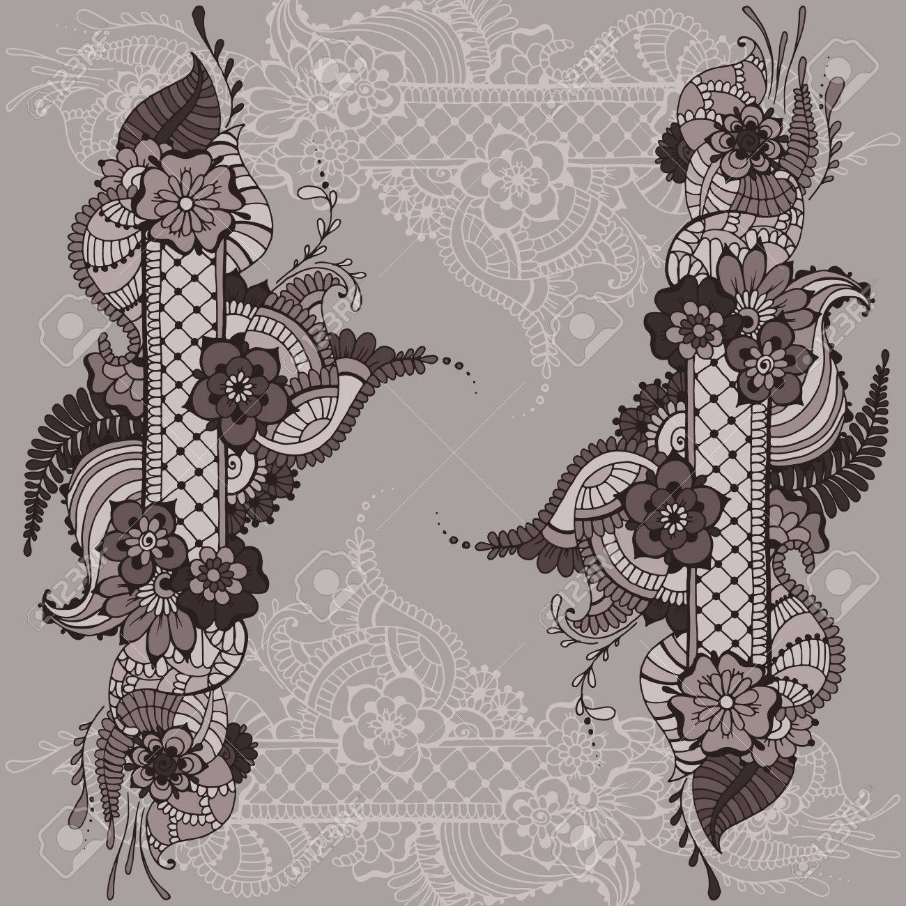 Ornate Vector Card Template In Indian Mehndi Style Hand Drawn