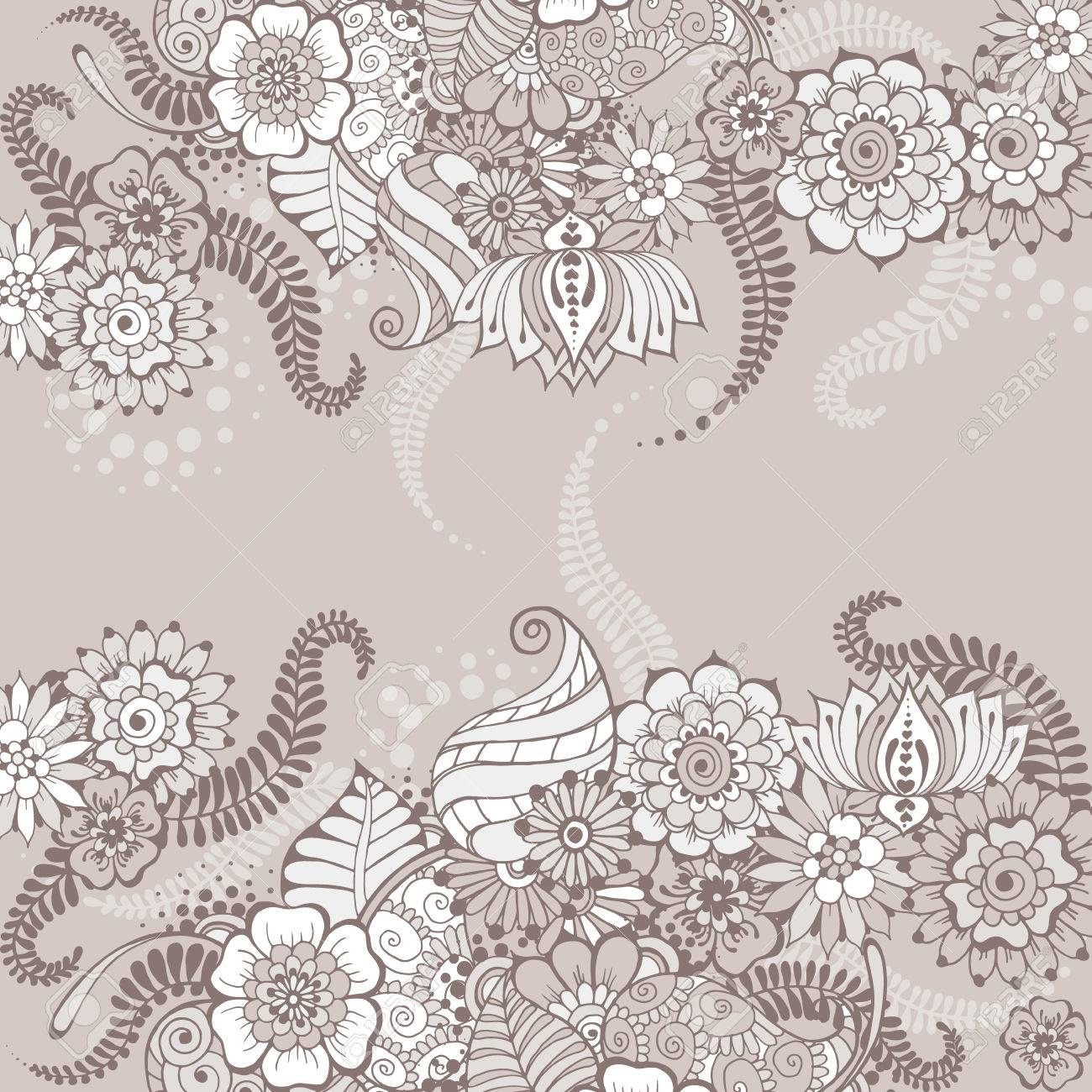 Ornate vintage vector background in mehndi style royalty free stock - Ornate Vector Card Template In Indian Mehndi Style Hand Drawn Floral Grey Background Invitation