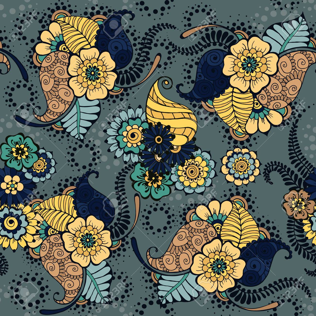 Pattern With Traditional Indian Ornamental Design Floral Background
