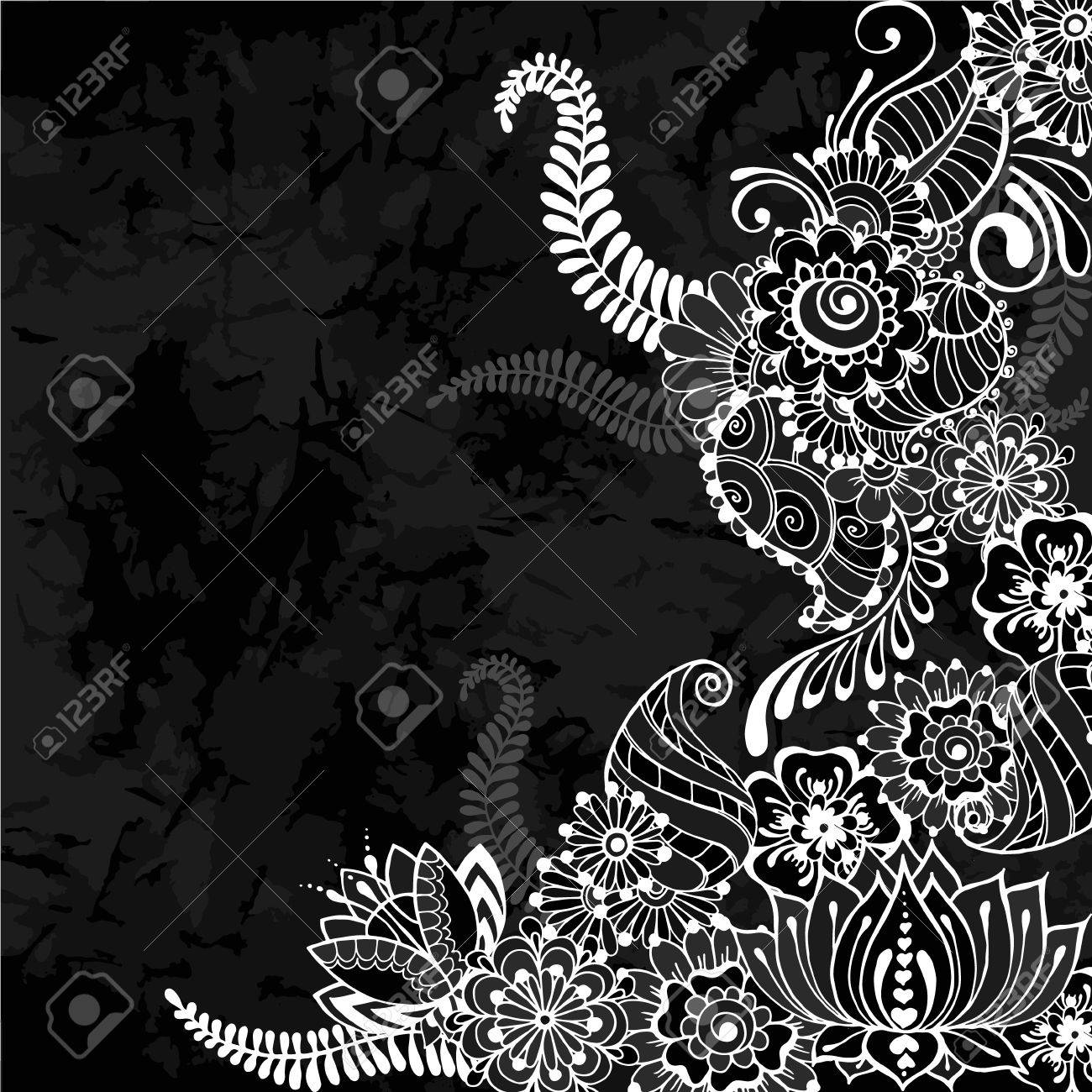 Ornate vector card template in indian mehndi style old black ornate vector card template in indian mehndi style old black background invitation cards stopboris Images
