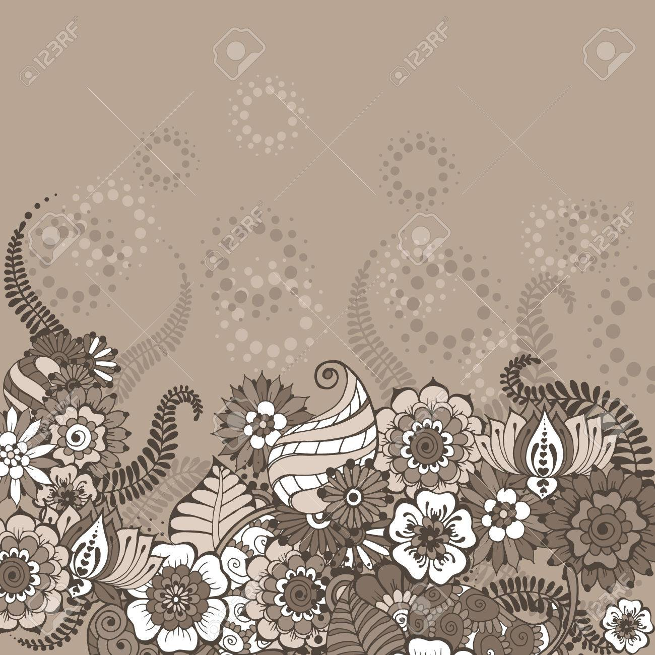 Ornate vintage vector background in mehndi style royalty free stock - Ornate Vector Card Template In Indian Mehndi Style Background In Coffee Colors Invitation